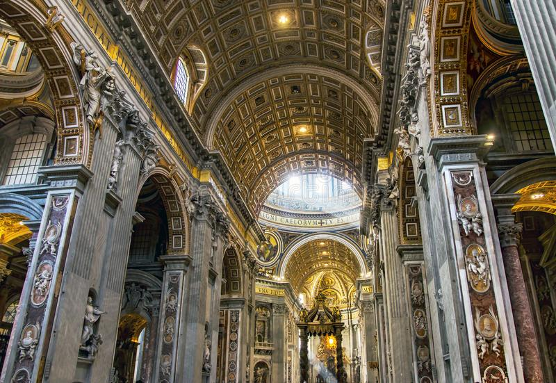 Interior of the Saint Peter Cathedral in Vatican. The stunning Saint Peter cathedral in Vatican - the world`s largest church, is the center of Christianity royalty free stock image