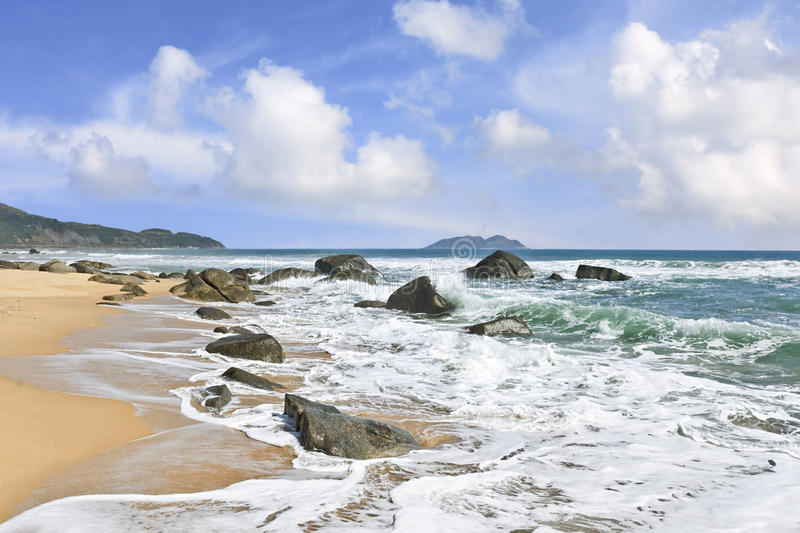 Stunning scenery and untouched beaches at Hainan Island, China royalty free stock photo