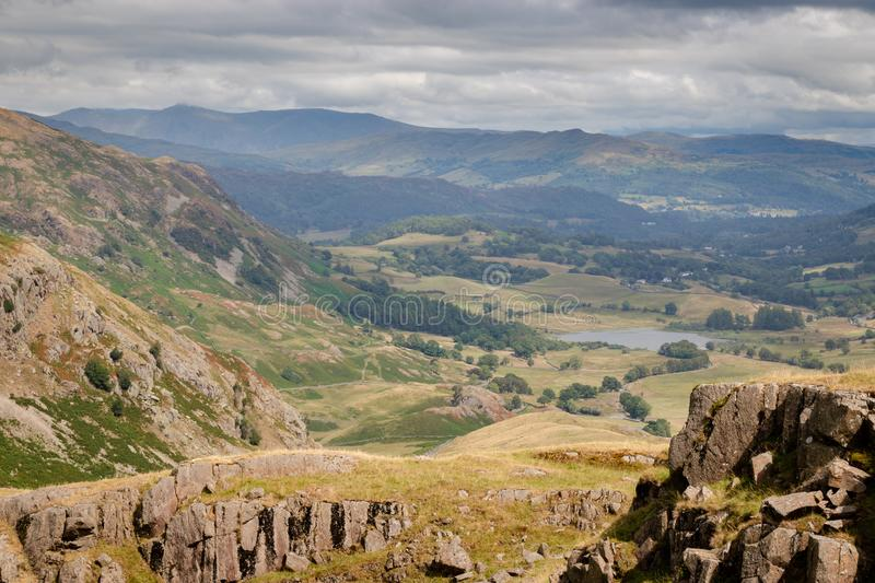Stunning scenic view from Wrynose Pass in Cumbria, Lake District stock photography