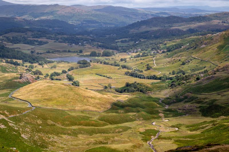 Stunning scenic view from Wrynose Pass in Cumbria, Lake District royalty free stock photo