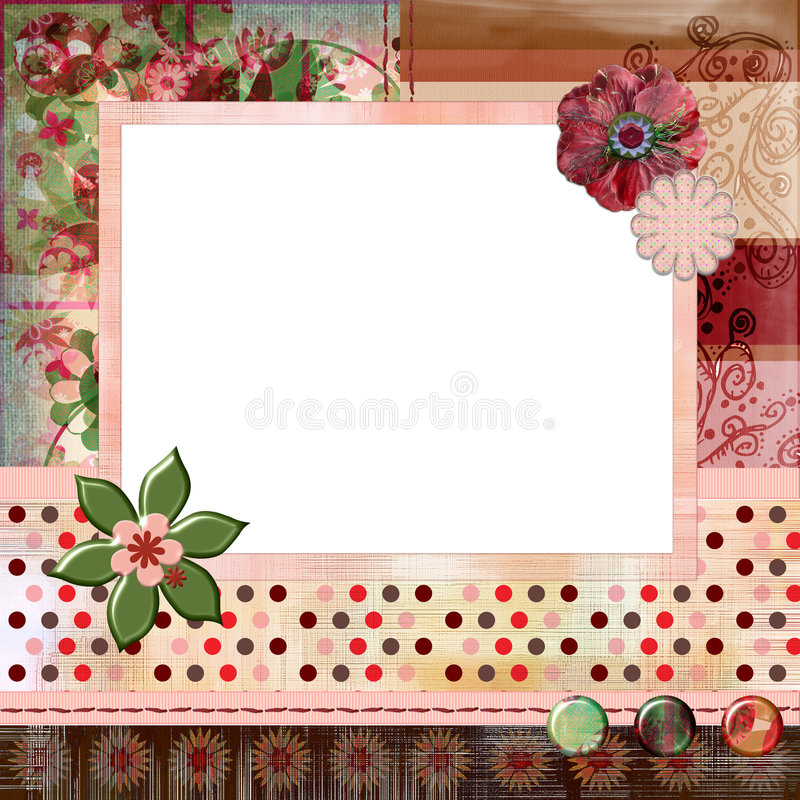 Download Stunning Scrapbook Album Page Layout 8x8 Inches, Gypsy Bohemian Style. Stock Illustration - Image: 844619