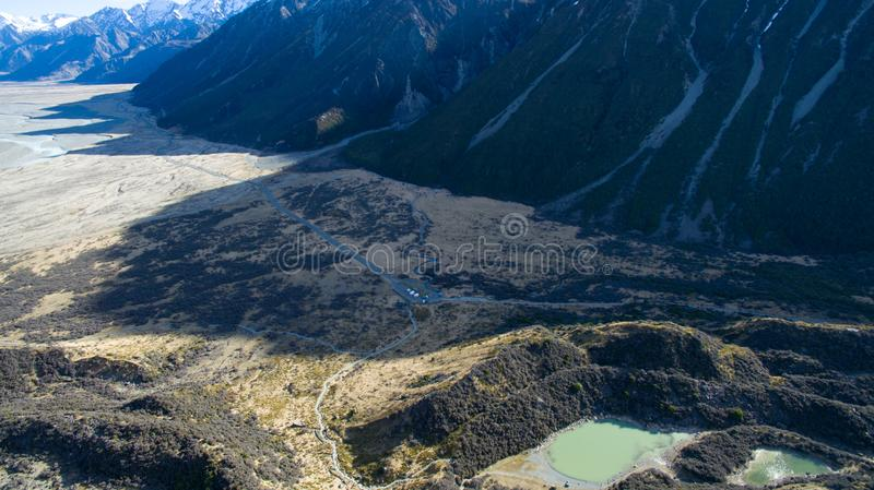Stunning aerial of a valley in New Zealand stock photos