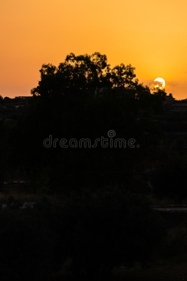 Stunning Silhouette Sunset, Sicilian Landscape, Italy, Europe. Wonderful Sunset in Sicily royalty free stock image