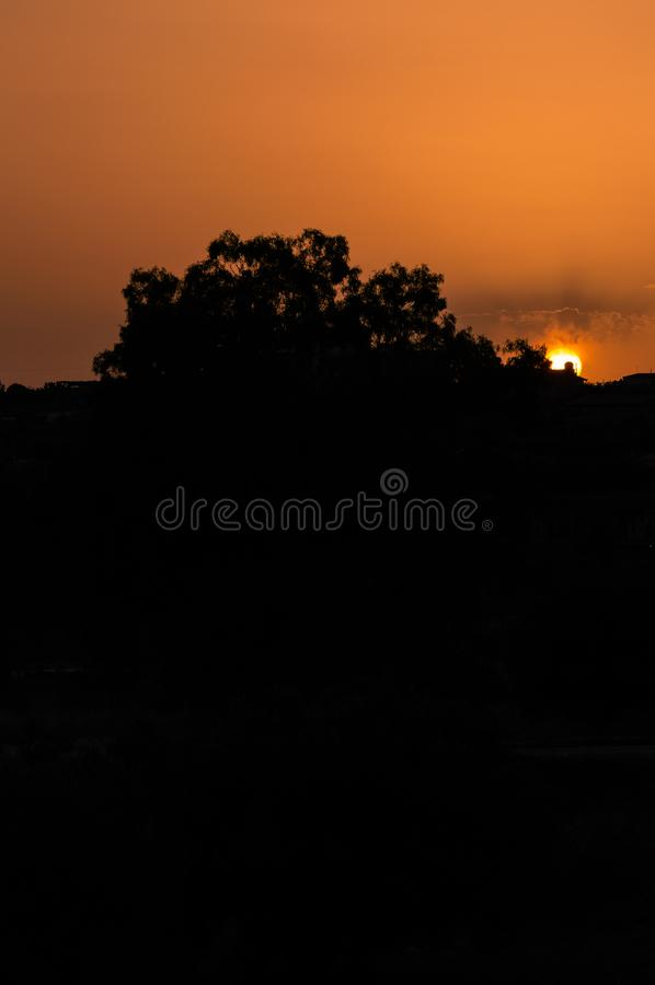 Stunning Silhouette Sunset, Sicilian Landscape, Italy, Europe. Wonderful Sunset in Sicily royalty free stock photos