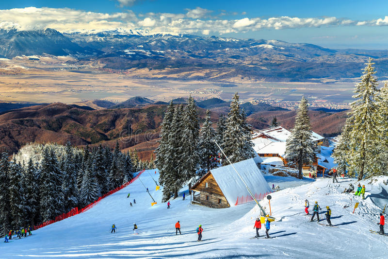 Stunning ski resort in the Carpathians,Poiana Brasov,Romania,Europe royalty free stock photos