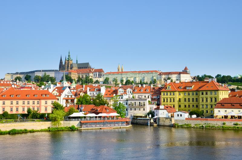 Stunning skyline of Prague, Czech Republic with dominant Prague Castle. The historical center of the Czech capital is located royalty free stock image