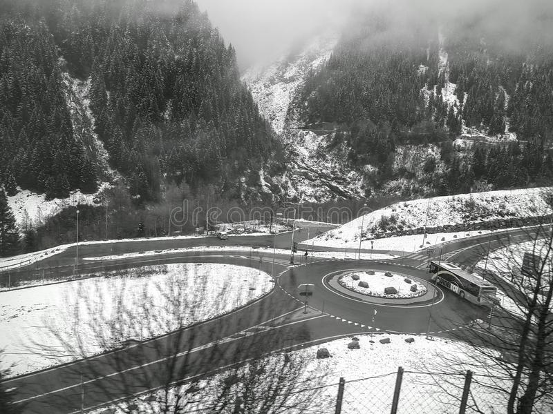 A stunning snow mountain landscape along the scenic train route. stock photography
