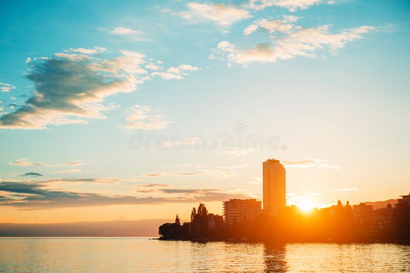 Stunning summer sunset over Lake Geneva. Image taken in Montreux, Switzerland stock photography