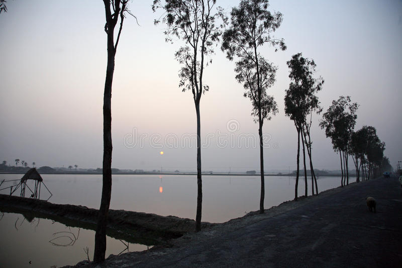 Stunning sunrise looking over the holiest of rivers in India. A stunning sunrise looking over the holiest of rivers in India. Ganges delta in Sundarbans, West stock photo