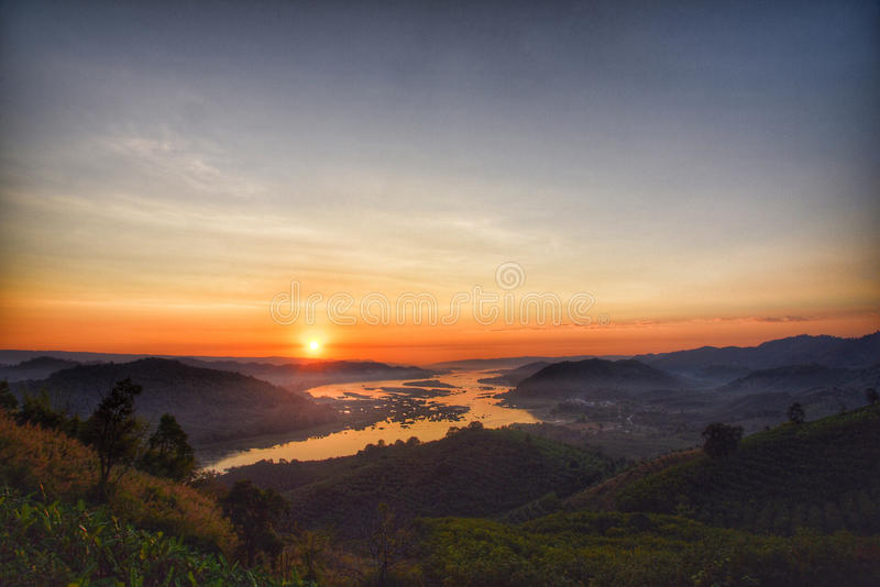 Stunning sunrise from montain in Thailand stock image