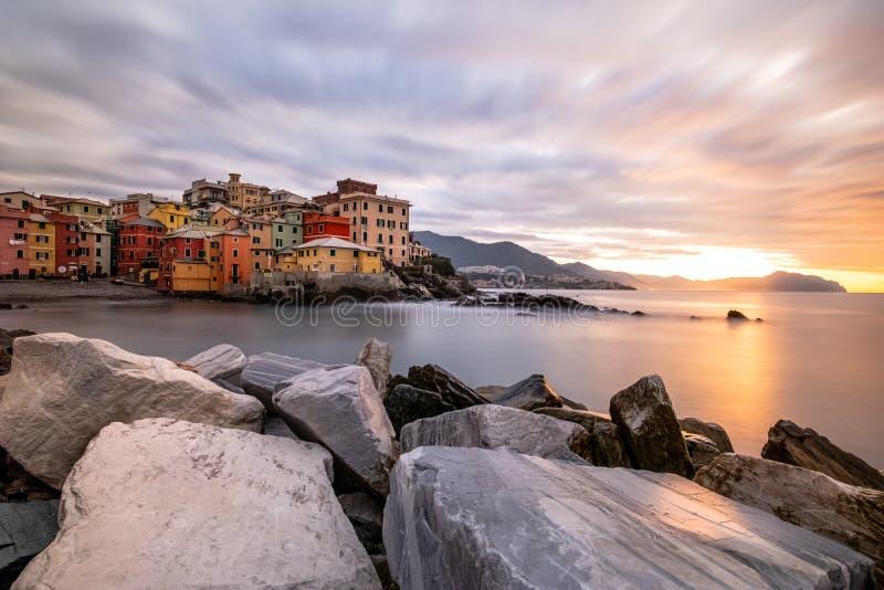 Stunning sunrise over the sea in Boccadasse, Genoa royalty free stock photo