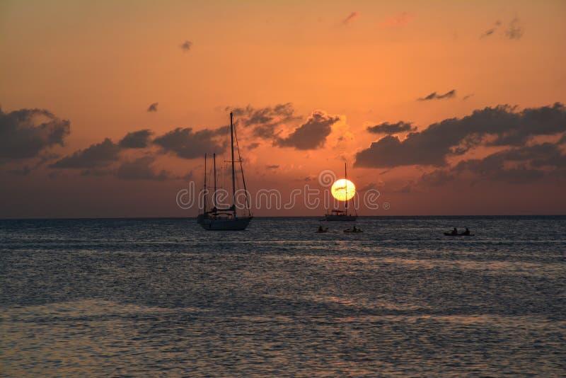 Beautiful sunset on Caye Caulker island in Belize stock image