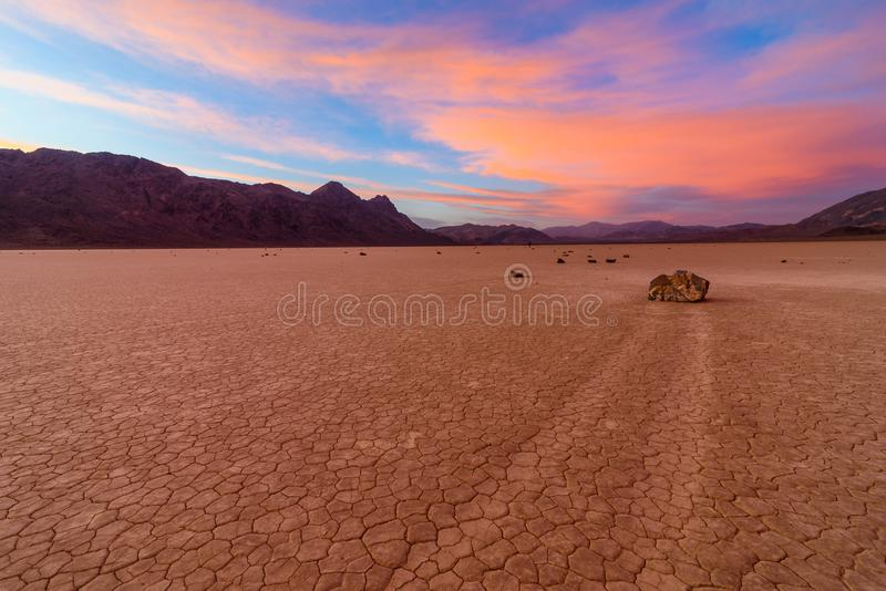 Stunning Sunset with Colorful Clouds at the Racetrack Playa in Death Valley National Park IN CALIFORNIA royalty free stock photos