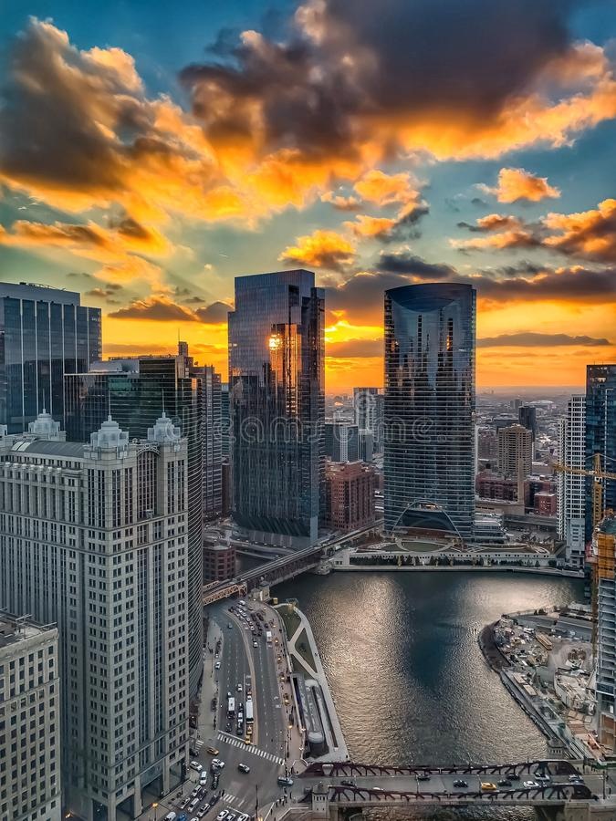 Stunning sunset over the Chicago River in the downtown Loop royalty free stock photos
