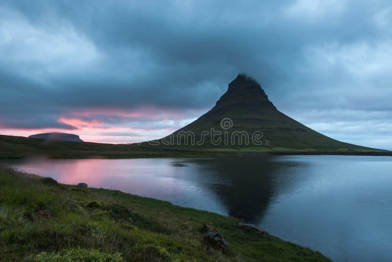Stunning sunset over Kirkjufell volcano. stock photos