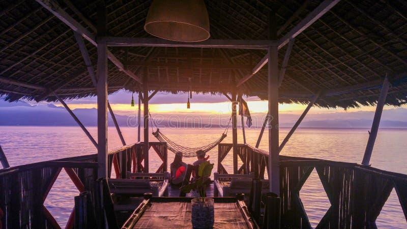 Stunning sunset over Samboan in Cebu Island in Philippines stock image