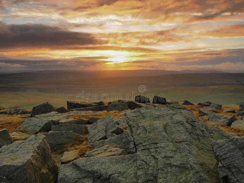 Stunning sunset from the top of Great Whernside overlooking Kettlewell, Wharfedale, Yorkshire Dales stock image