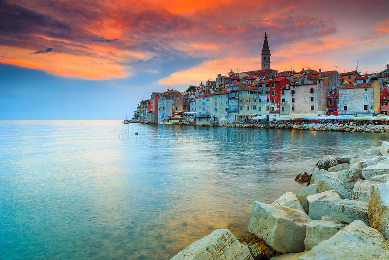Stunning sunset with Rovinj old town,Istria region,Croatia,Europe stock photos
