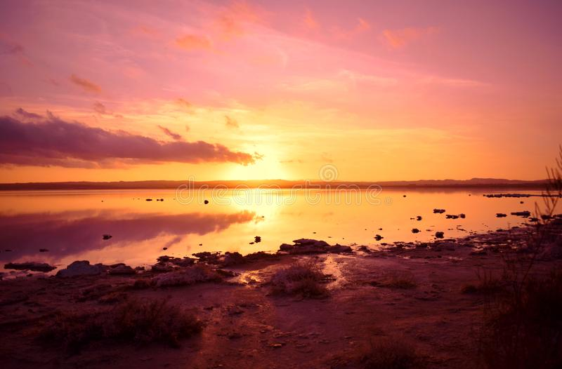 Sunset,Mediterranean Sea, sun,Spain, Alicante, Torrevieja , salt lake. Stunning sunset in salt lake in Torrevieja Alicante an unforgettable place for travelers stock image