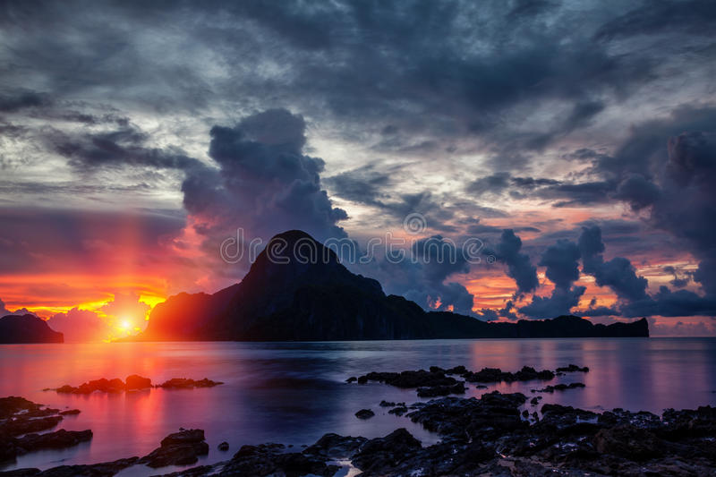 Stunning sunset scenery in El Nido, Philippines royalty free stock photos