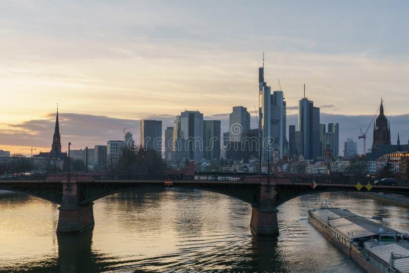 Stunning sunset view of financial skyline in Frankfurt royalty free stock image