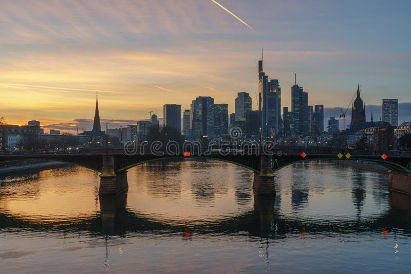 Stunning sunset view of financial skyline in Frankfurt royalty free stock photography