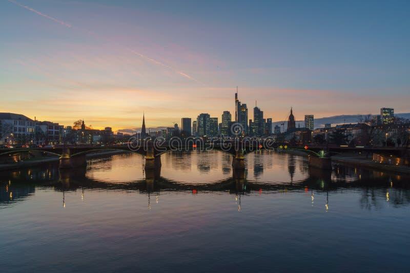 Stunning sunset view of financial skyline in Frankfurt royalty free stock photos