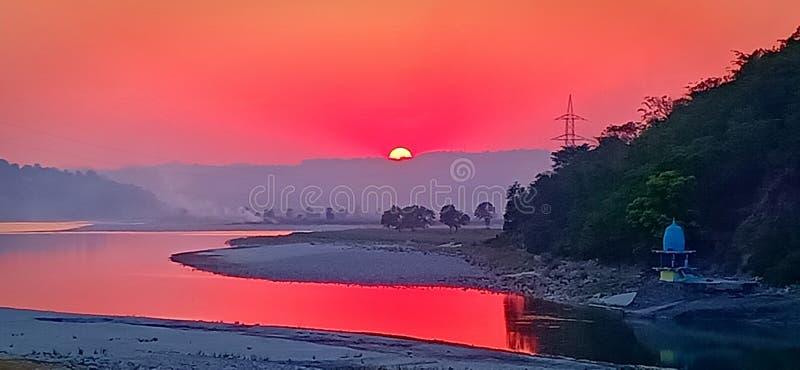 Stunning sunset. View in Himachal Pradesh royalty free stock image