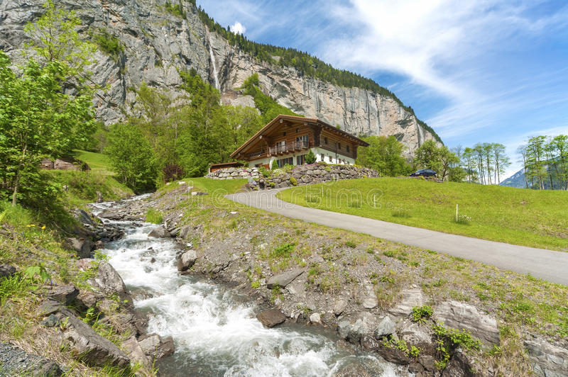 Stunning Swiss Landscape. Stunning Landscape in Lauterbrunnen, Swiss royalty free stock photography