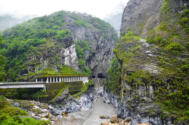 Stunning Taiwanese landscape photographed in Taroko National Park. Taroko Gorge is local tourist attraction. Beautiful rocks. Around river bed surrounded by royalty free stock photos