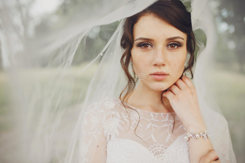 Stunning tender brunette bride stands coverev by her veil royalty free stock photography