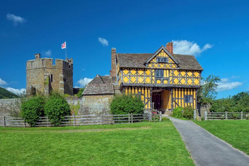 Stokesay Castle Gatehouse and South Tower, Shropshire, England. The stunning 17th century gatehouse that is the entrance to the famous Stokesay Castle, one of royalty free stock images
