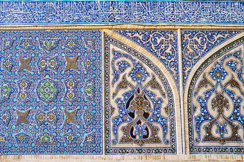 Ornate tile patterns of Jameh Mosque, Isfahan, Iran stock photos