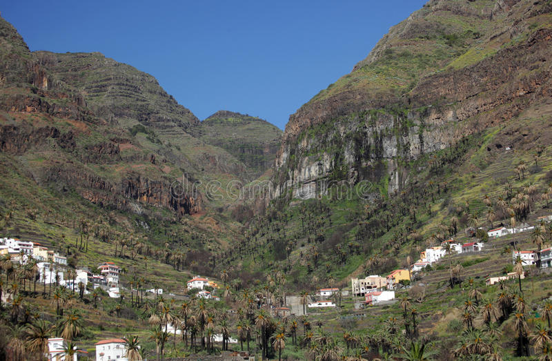 Stunning Valle Gran Rey. Stunning and beautiful Valle Gran Rey on the island of La Gomera, one of the archipelago of Canary Islands, Spain stock photography