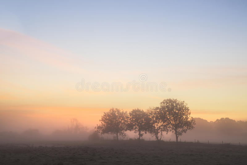 Stunning vibrant Autumn foggy sunrise English countryside landscape image. Stunning foggy Autumn sunrise English countryside landscape image stock image