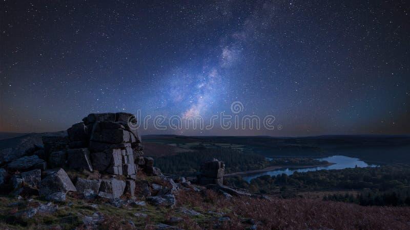 Stunning vibrant Milky Way composite image overStunning Autumn s stock photo
