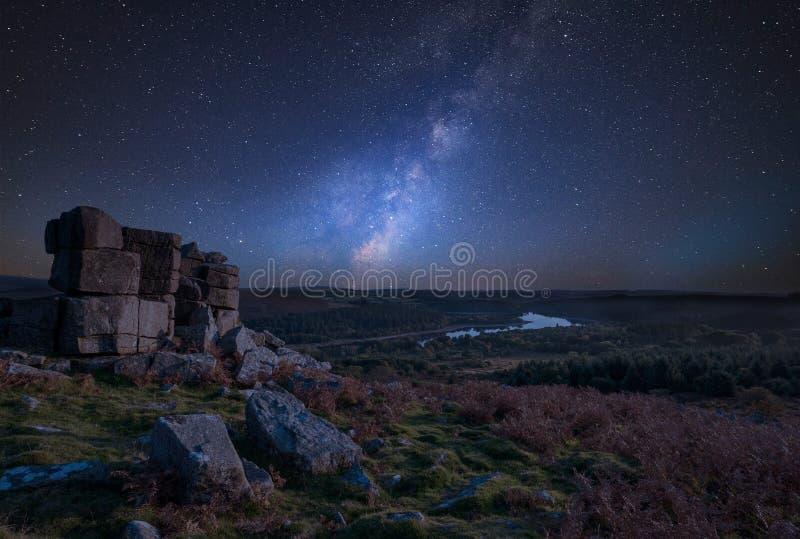 Stunning vibrant Milky Way composite image overStunning Autumn s stock image