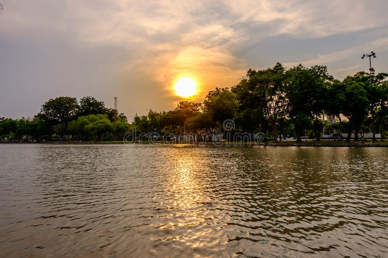 Stunning vibrant during sunset at the Jatujak park stock photos
