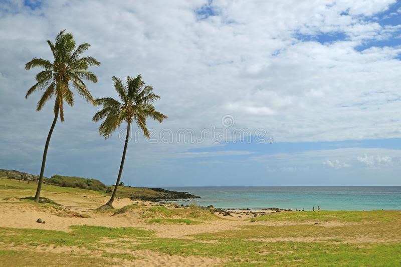 Stunning View of Anakena Beach with Pacific Ocean, Easter Island, Chile, South America. Beauty in nature stock photo