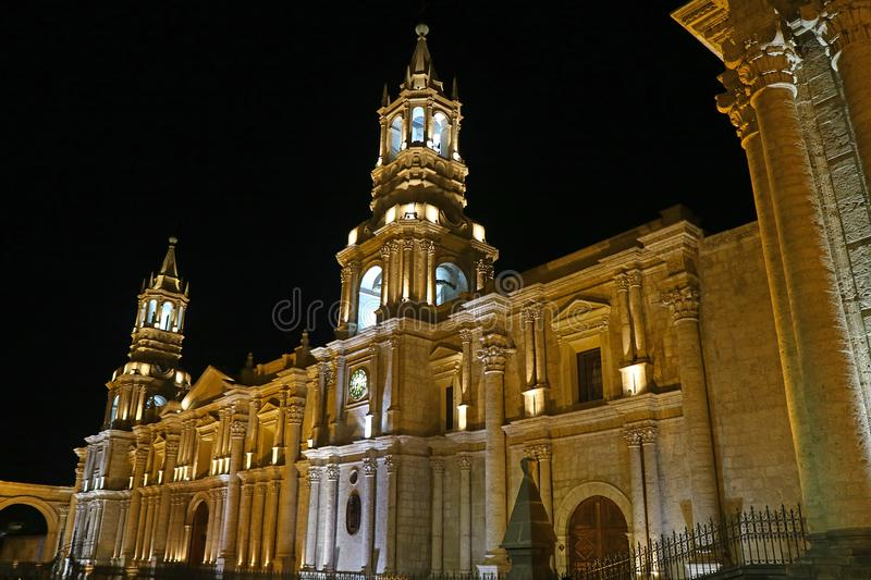 Stunning view of the Basilica Cathedral of Arequipa by night, Peru royalty free stock photography
