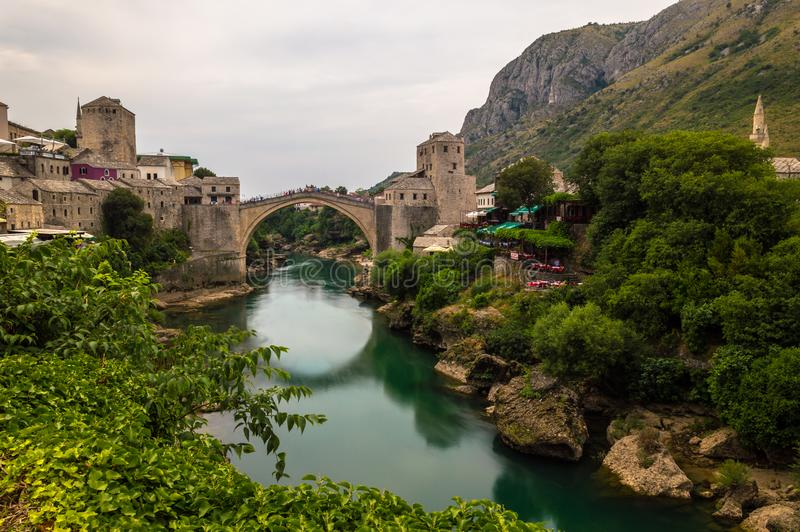 Stunning view of the beautiful Old Bridge in Mostar, Bosnia and Herzegovina stock photography