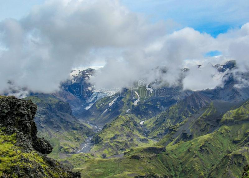 Stunning view on Eyjafjallajokull glacier and volcano, hiking in Thorsmork, southern Iceland. Breathtaking view on Eyjafjallajokull glacier and volcano with stock photo