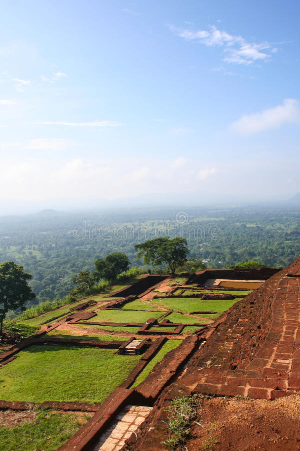 Stunning view of forest and mountains from top of Lions Rock Sigiriya Sri Lanka stock photography