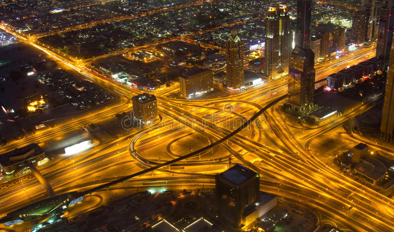 A stunning view of the freeways in downtown Dubai UAE royalty free stock photos
