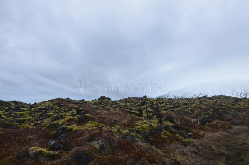 Lava field with ice capped mountains in the background royalty free stock photos