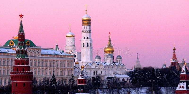 STUNNING VIEW OF THE MOSCOW KREMLIN AT SUNSET stock image