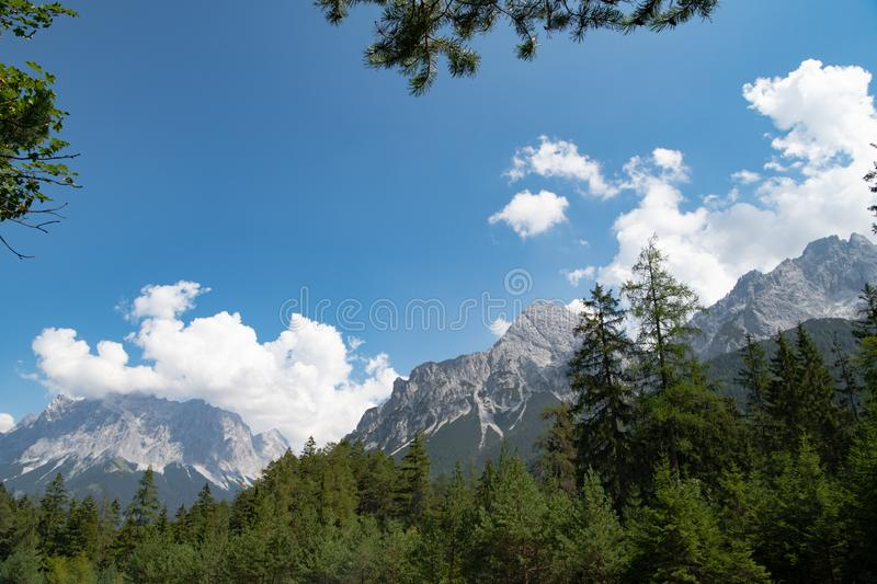 Zugspitze, View from Fernpass to Zugspitze, Austria royalty free stock images