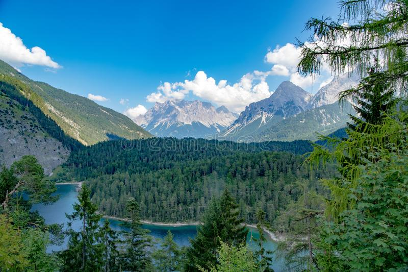 Zugspitze, View from Fernpass to Zugspitze, Austria royalty free stock image