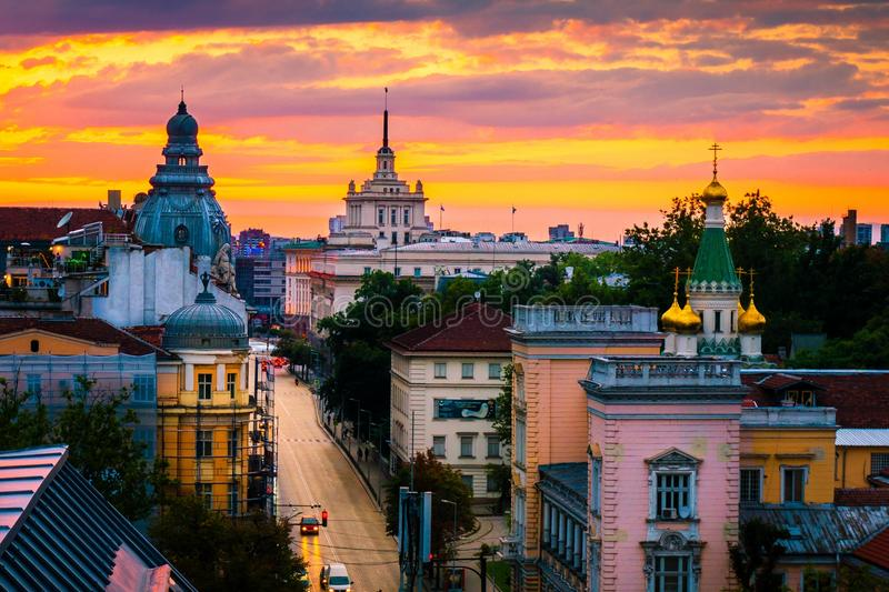 Stunning view over Russian Church and other landmarks in Sofia Bulgaria royalty free stock photos