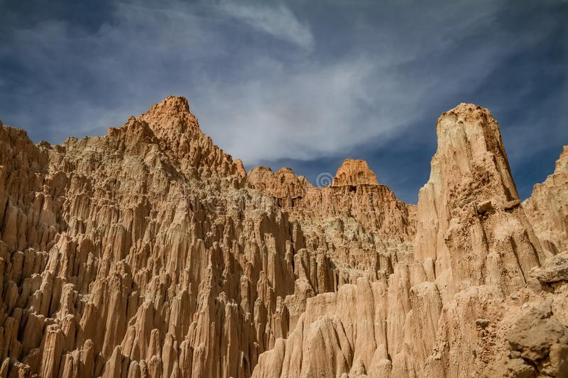 Stunning view of the peaks of Cathedral Gorge State Park in Nevada royalty free stock photos